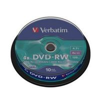 Диск DVD-RW 4.7Gb 4x Verbatim CakeBox 10