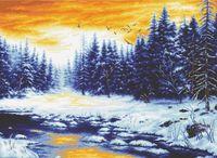 """Вышивка крестом """"Зимняя река"""""""