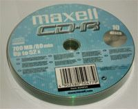 Диск CD-R 700Mb 52x Maxell Bulk 10