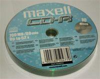 Диск CD-R 700Mb 52x Maxell Bulk 10