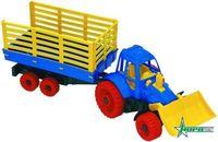 Трактор с грейдером и прицепом