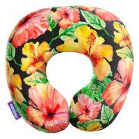 """Подушка под шею """"Тропические цветы. Большие"""" (29х29 см; чёрная)"""