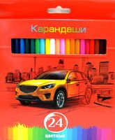 """Цветные карандаши """"Красная энергия"""" в картонной коробке (24 цвета)"""