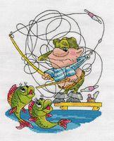 "Вышивка крестом ""Рыбак запутался в снастях"""