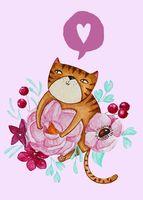 """Открытка """"Яна Поддубская. Cat"""" (арт. 1242)"""