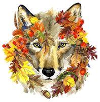 """Вышивка бисером """"Осенний волк"""" (230х240 мм)"""