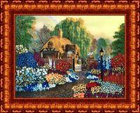 """Вышивка лентами """"Цветы у дома"""" (255х350 мм)"""