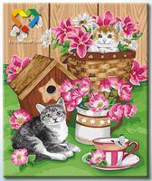"""Картина по номерам """"Котята и цветы"""" (500x600 мм; арт. HB5060007)"""