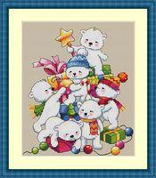 """Вышивка крестом """"Рождественские мишки"""" (200х170 мм)"""