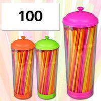 Набор соломок для питья пластмассовых в подставке (100 шт.; 21 см)