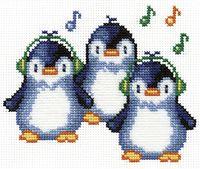 """Вышивка крестом """"Пингвины"""" (190x150 мм)"""