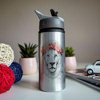 """Бутылка для воды """"Лев в красном венке"""" (600 мл; металлик)"""