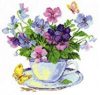 """Вышивка крестом """"Утренние цветы"""" (240х240 мм)"""