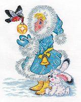 """Вышивка крестом """"Снегурочка и снегирь"""" (210х250 мм)"""