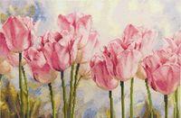 """Вышивка крестом """"Розовые тюльпаны"""" (400х270 мм)"""