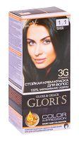 """Крем-краска для волос """"Gloris"""" тон: 1.1, иссиня-черный"""