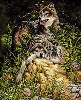 """Алмазная вышивка-мозаика """"Семейство волков"""" (400х500 мм)"""