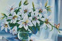 """Вышивка бисером """"Белые лилии"""""""