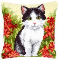 "Вышивка крестом ""Подушка. Кошка в цветах"" (400х400 мм; арт. 0143701-PN)"