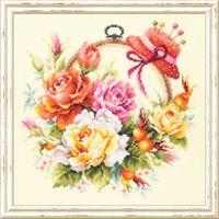 """Вышивка крестом """"Розы для мастерицы"""" (250x250 мм)"""