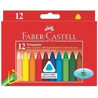 Трехгранные восковые мелки Faber-Castell в картонной коробке (12 цветов)