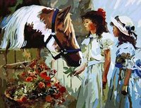"""Картина по номерам """"Дети и лошадь"""" (400х500 мм)"""