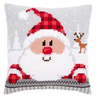 """Вышивка крестом """"Подушка. Санта Клаус в клетчатой шапке"""" (400х400 мм)"""