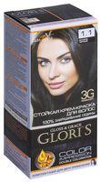 """Крем-краска для волос """"Gloris"""" (тон: 1.1, иссиня-черный; 2 шт.)"""
