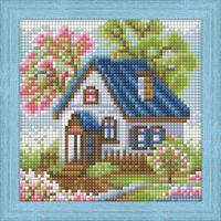 "Алмазная вышивка-мозаика ""Весенний домик"" (150х150 мм)"