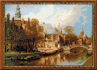 """Вышивка крестом """"И. Клинкенберг. Амстердам. Старая церковь и церковь Св. Николая Чудотворца"""" (540х400 мм)"""