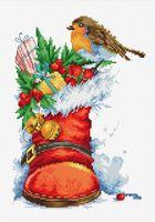 """Вышивка крестом """"Рождественский сапожок"""" (155х220 мм)"""