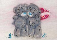 """Картина из шерсти """"Татти Тедди с сердечком"""""""