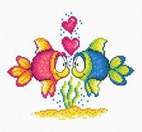 """Вышивка крестом """"Влюбленные рыбки"""""""