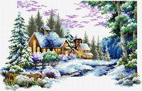 """Вышивка крестом """"Зимний пейзаж"""" (400x280 мм)"""