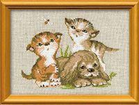"""Вышивка крестом """"Котята и щенок"""" (арт. 673)"""