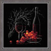 """Вышивка крестом """"Натюрморт с красным вином"""" (300х300 мм)"""