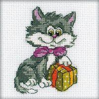 """Вышивка крестом """"Котенок с подарком"""""""