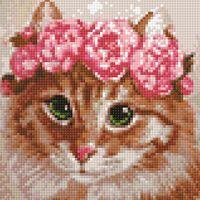 "Алмазная вышивка-мозаика ""Весенняя кошка"" (200х200 мм)"