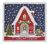 """Вышивка крестом """"Новогодний домик"""" (95х87 мм; на магните)"""