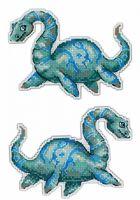 """Вышивка крестом """"Динозавры. Плезиозавр"""" (90х130 мм)"""