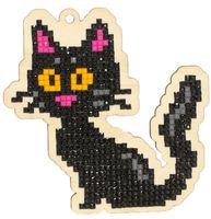 """Алмазная вышивка-мозаика """"Брелок. Черная кошка"""" (96х95 мм)"""