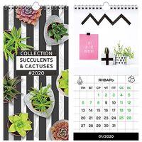 """Календарь настенный перекидной на 2020 год """"Cactus"""" (16,5х34 см)"""
