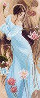 """Канва с нанесенным рисунком """"Девушка в лилиях"""""""