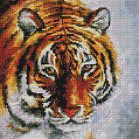 "Алмазная вышивка-мозаика ""Тигр на снегу"" (300х300 мм)"
