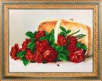 """Вышивка бисером """"Розы в корзине"""" (400х300 мм)"""