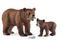 """Набор фигурок """"Самка медведя гризли с детенышем"""""""