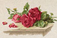 """Вышивка крестом """"Красные розы"""" (310х195 мм)"""