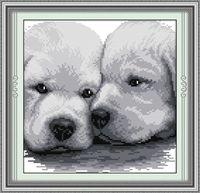"""Вышивка крестом """"Два белых щенка"""" (200x200 мм)"""
