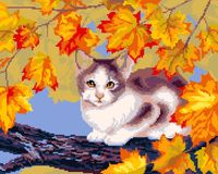 "Вышивка крестом ""Осенний кот"" (420x300 мм)"