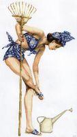 """Вышивка крестом """"Девушка с лейкой"""" (360х660 мм)"""